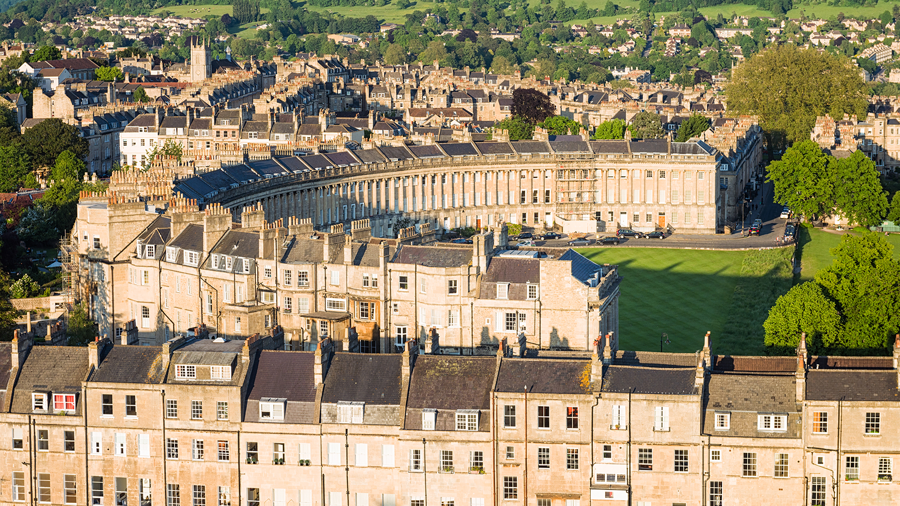 Aerial view of Royal Crescent in Bath, England