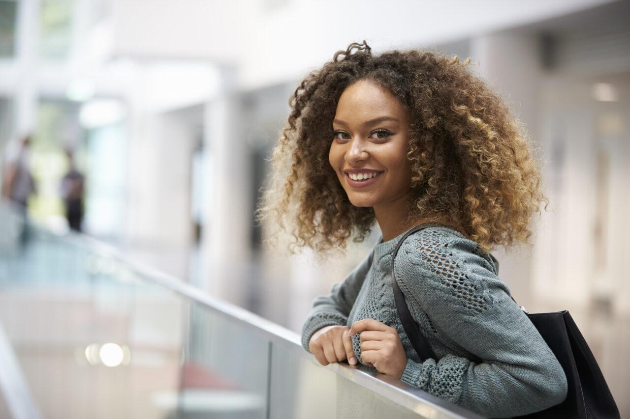 University student smiling